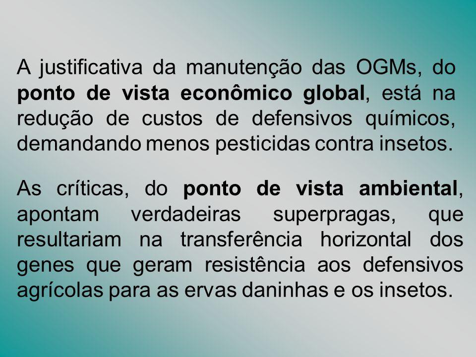 A justificativa da manutenção das OGMs, do ponto de vista econômico global, está na redução de custos de defensivos químicos, demandando menos pesticidas contra insetos.
