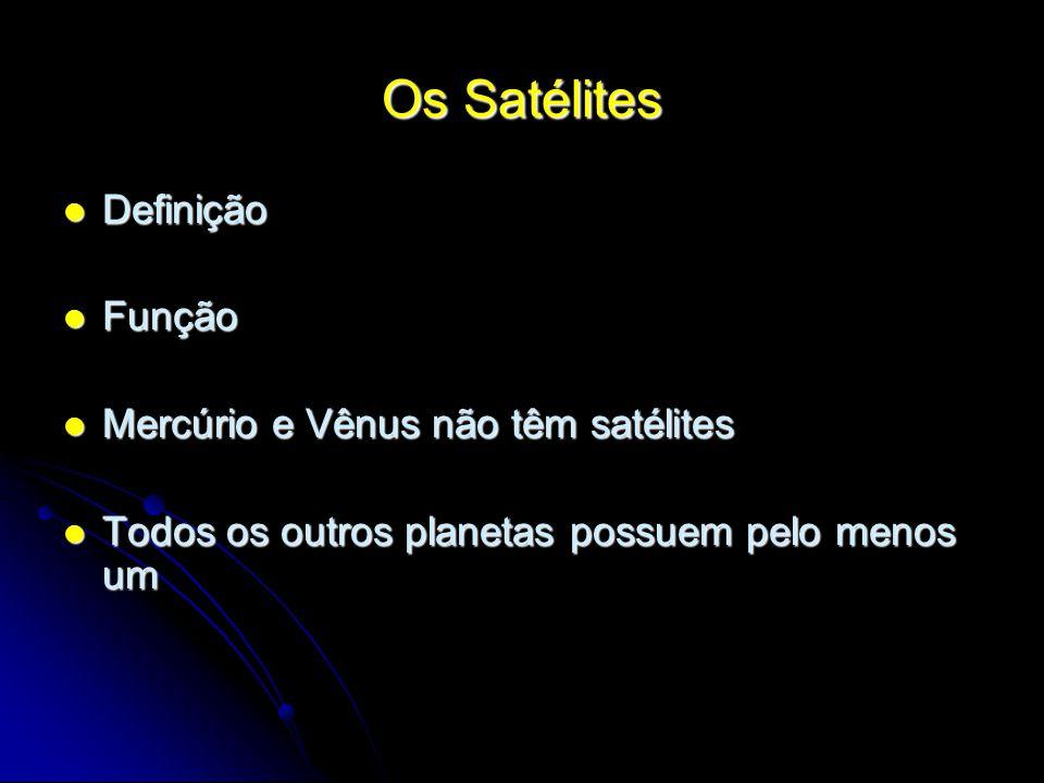 Os Satélites Definição Função Mercúrio e Vênus não têm satélites