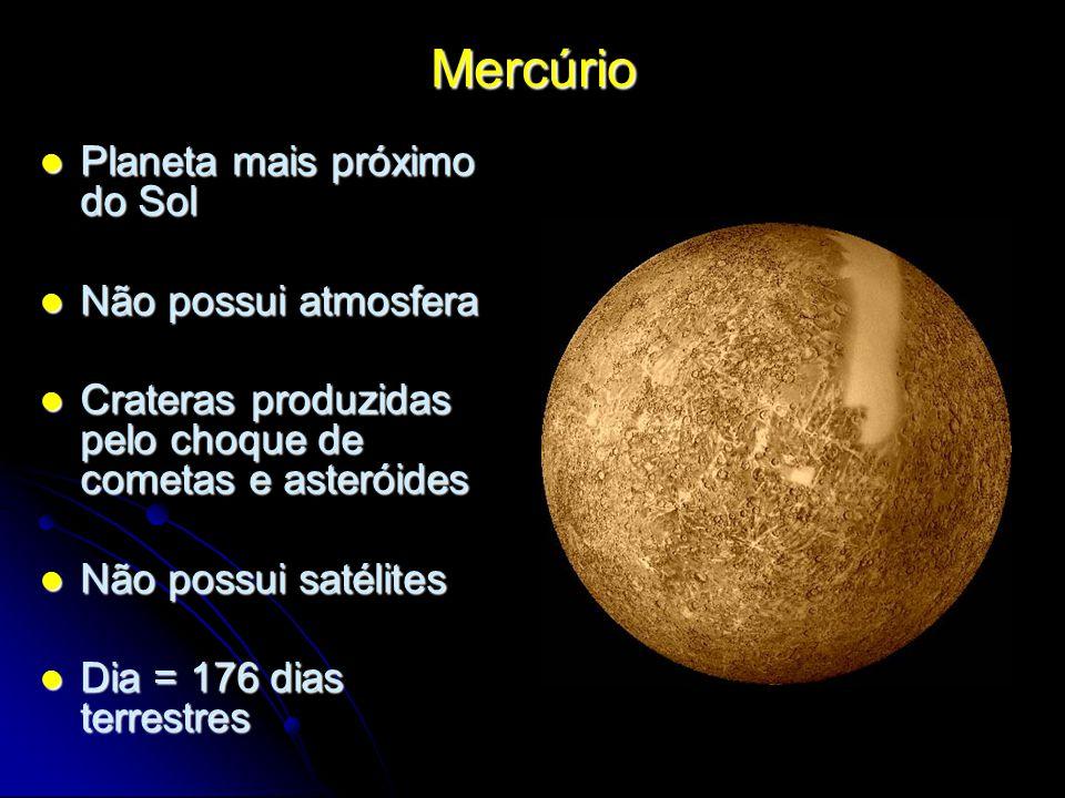Mercúrio Planeta mais próximo do Sol Não possui atmosfera