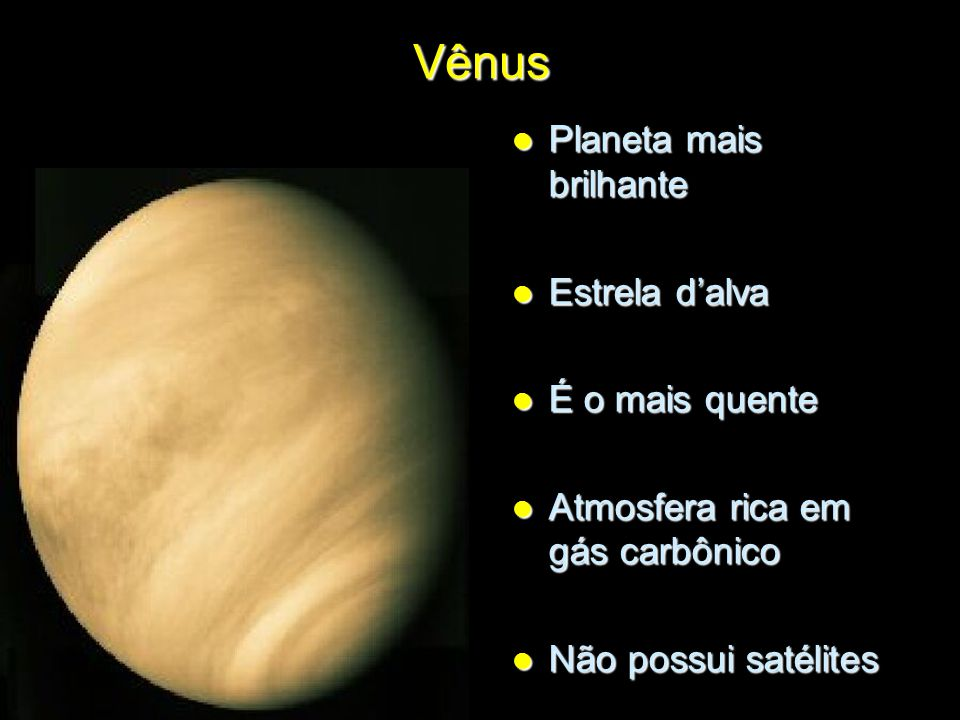 Vênus Planeta mais brilhante Estrela d'alva É o mais quente