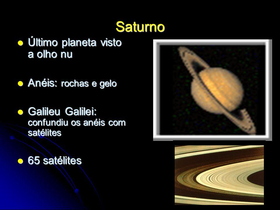 Saturno Último planeta visto a olho nu Anéis: rochas e gelo