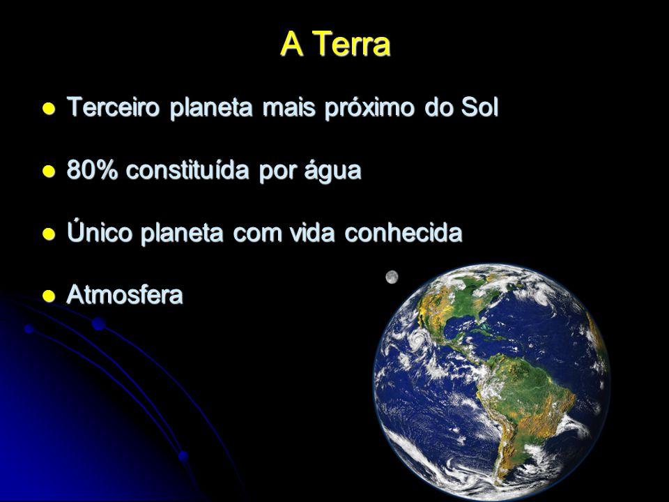 A Terra Terceiro planeta mais próximo do Sol 80% constituída por água