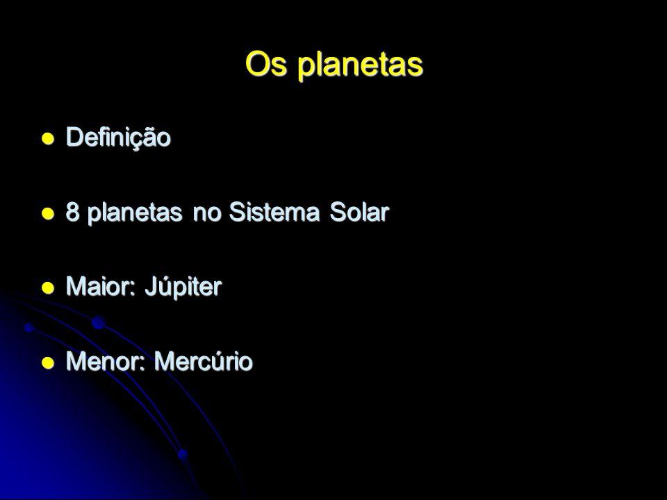 Os planetas Definição 8 planetas no Sistema Solar Maior: Júpiter