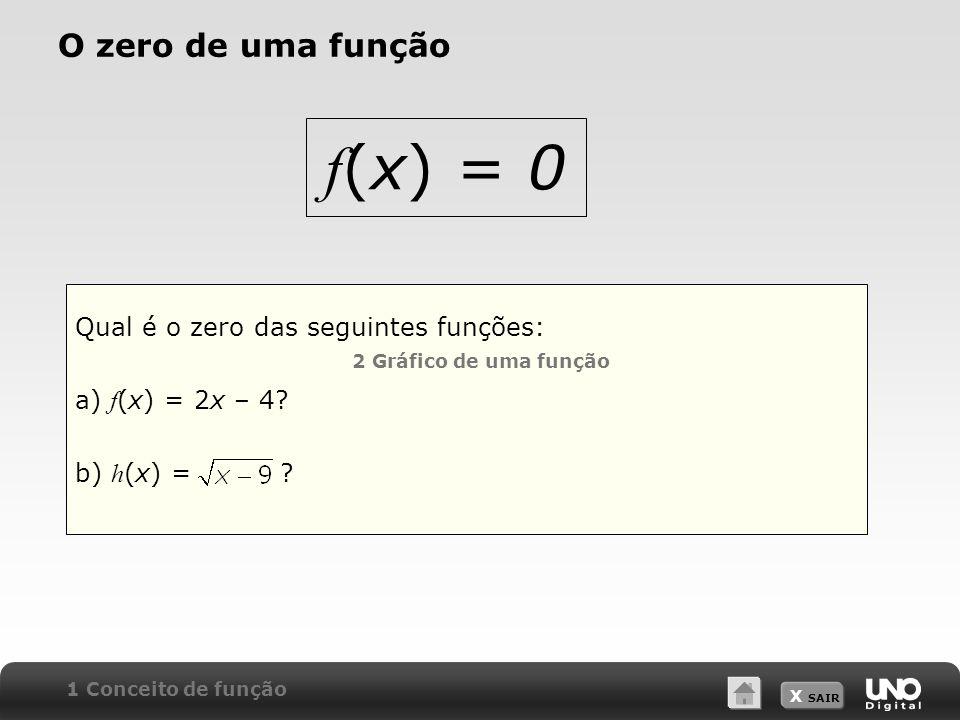 f(x) = 0 O zero de uma função Qual é o zero das seguintes funções: