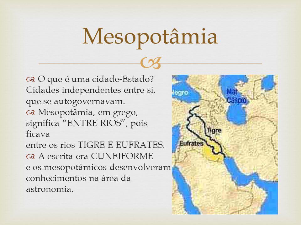 Mesopotâmia O que é uma cidade-Estado Cidades independentes entre si,