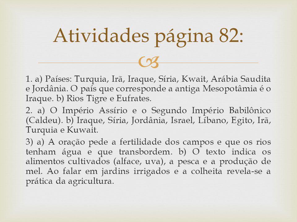 Atividades página 82: