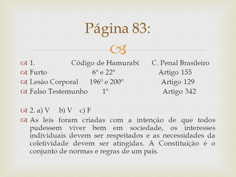 Página 83: 1. Código de Hamurabi C. Penal Brasileiro