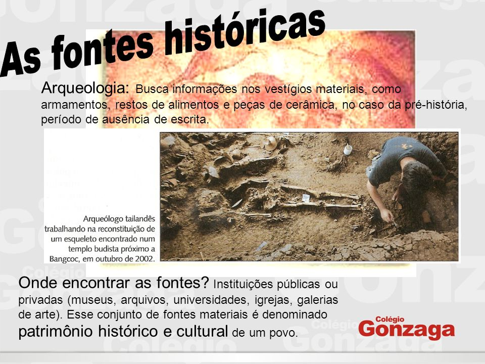 As fontes históricas