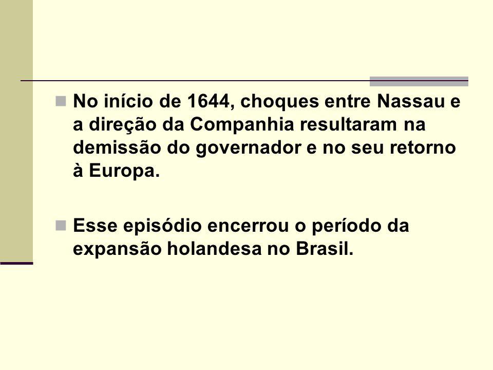 No início de 1644, choques entre Nassau e a direção da Companhia resultaram na demissão do governador e no seu retorno à Europa.