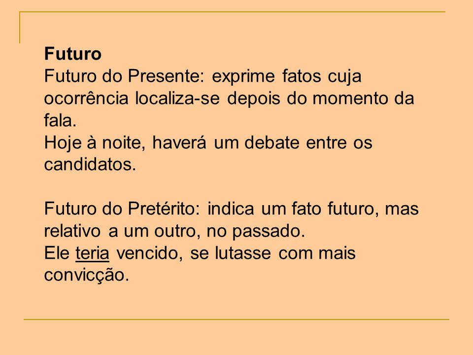 Futuro Futuro do Presente: exprime fatos cuja ocorrência localiza-se depois do momento da fala. Hoje à noite, haverá um debate entre os candidatos.