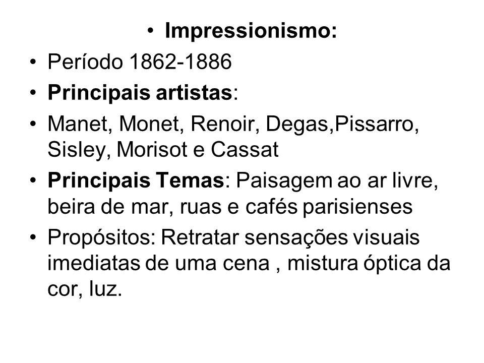 Impressionismo: Período 1862-1886. Principais artistas: Manet, Monet, Renoir, Degas,Pissarro, Sisley, Morisot e Cassat.