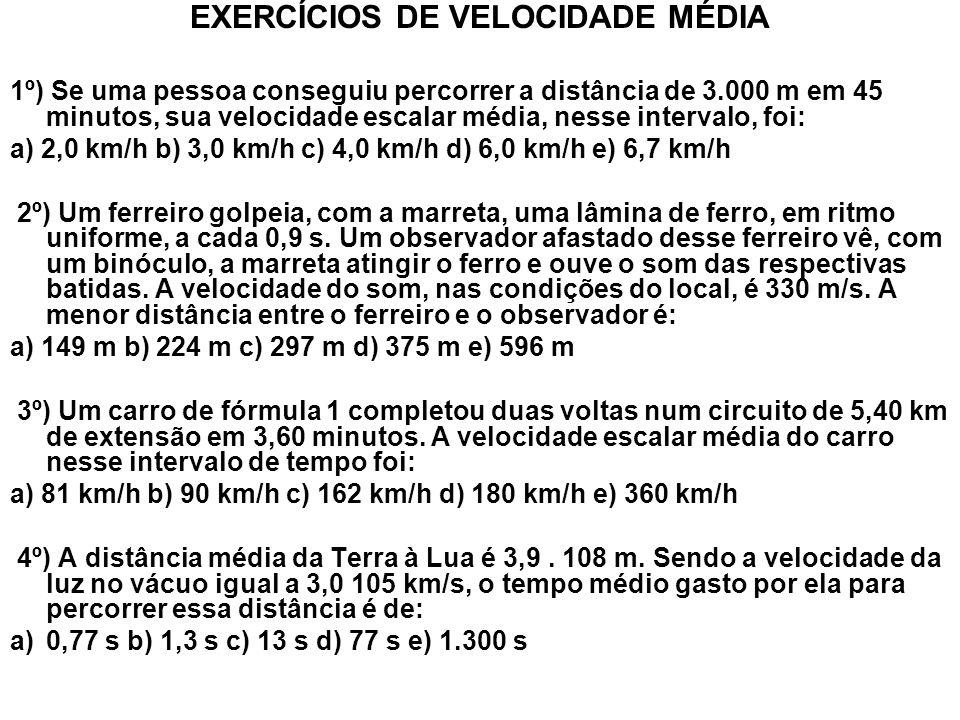 EXERCÍCIOS DE VELOCIDADE MÉDIA
