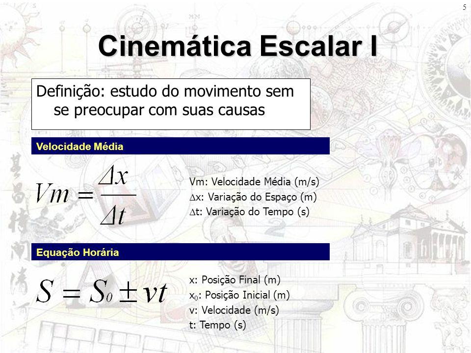 Cinemática Escalar I Definição: estudo do movimento sem se preocupar com suas causas. Velocidade Média.