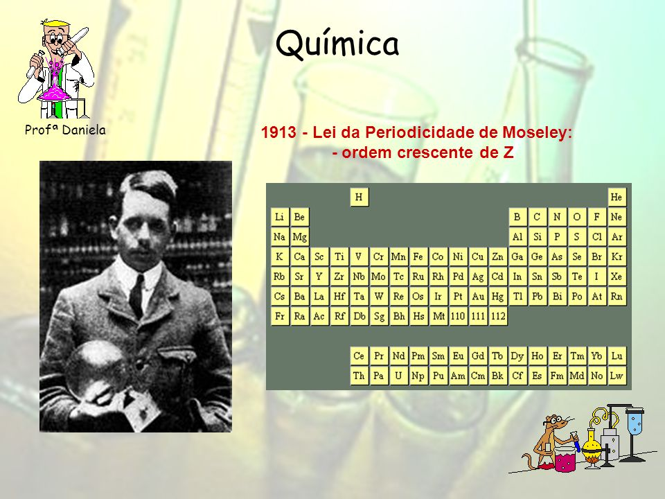 Química 1913 - Lei da Periodicidade de Moseley: - ordem crescente de Z