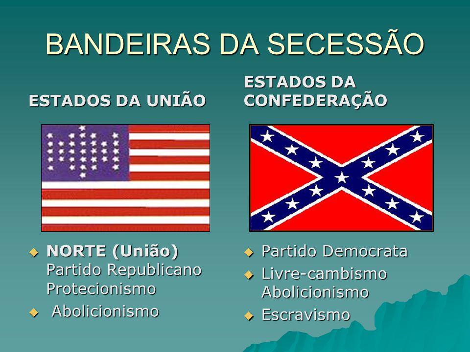 BANDEIRAS DA SECESSÃO ESTADOS DA UNIÃO ESTADOS DA CONFEDERAÇÃO