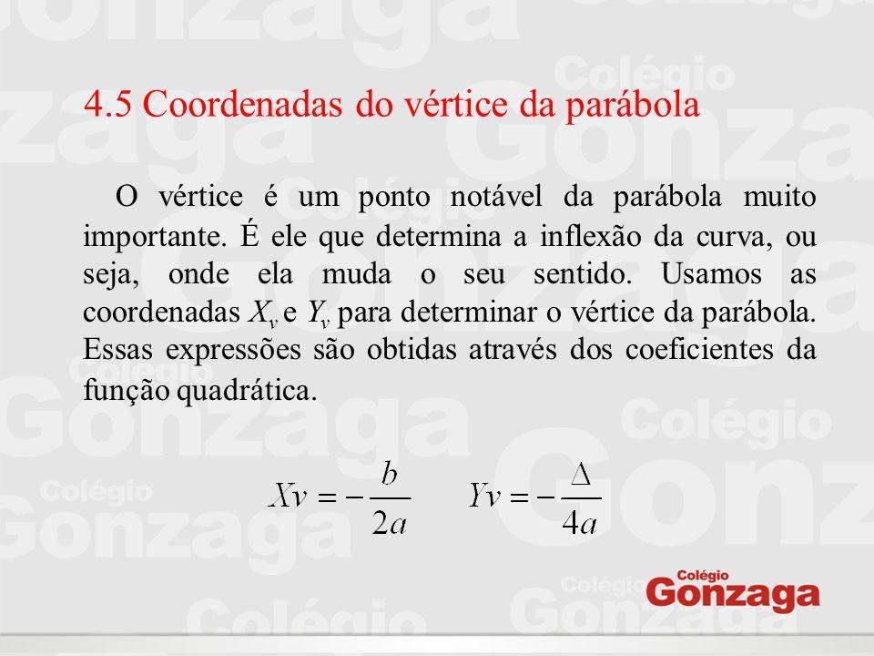 4.5 Coordenadas do vértice da parábola