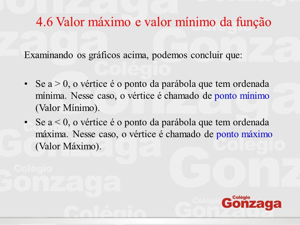 4.6 Valor máximo e valor mínimo da função