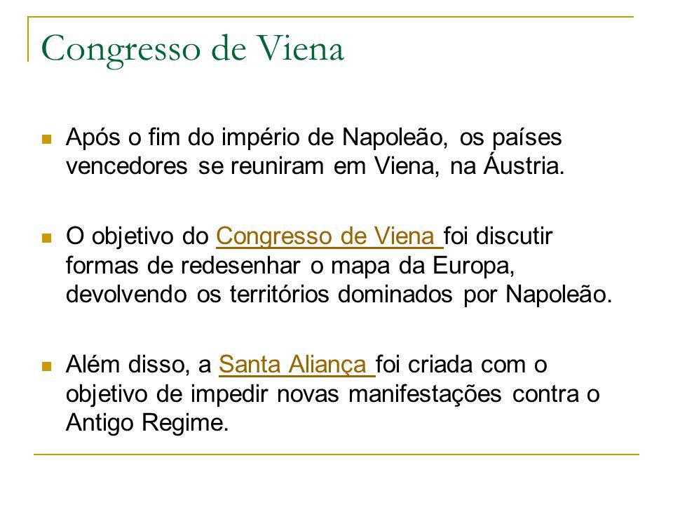 Congresso de Viena Após o fim do império de Napoleão, os países vencedores se reuniram em Viena, na Áustria.
