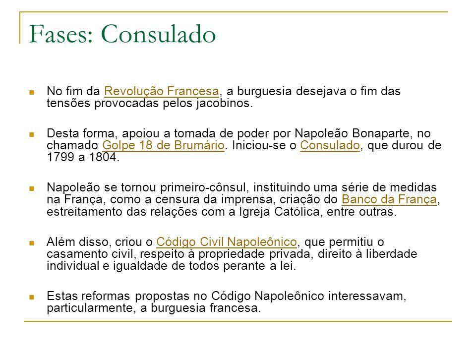 Fases: Consulado No fim da Revolução Francesa, a burguesia desejava o fim das tensões provocadas pelos jacobinos.