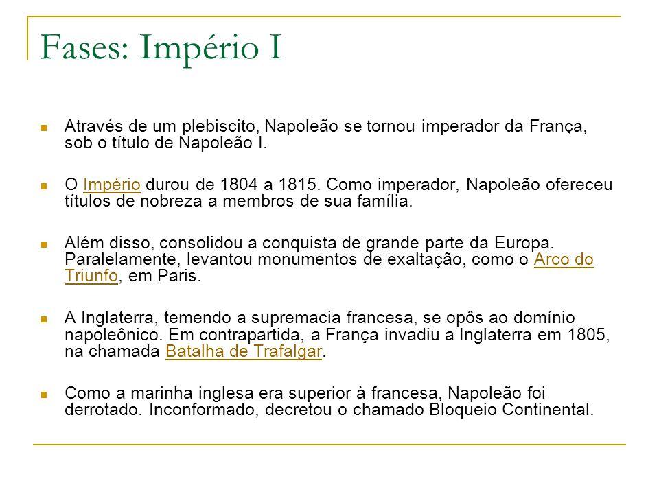 Fases: Império I Através de um plebiscito, Napoleão se tornou imperador da França, sob o título de Napoleão I.