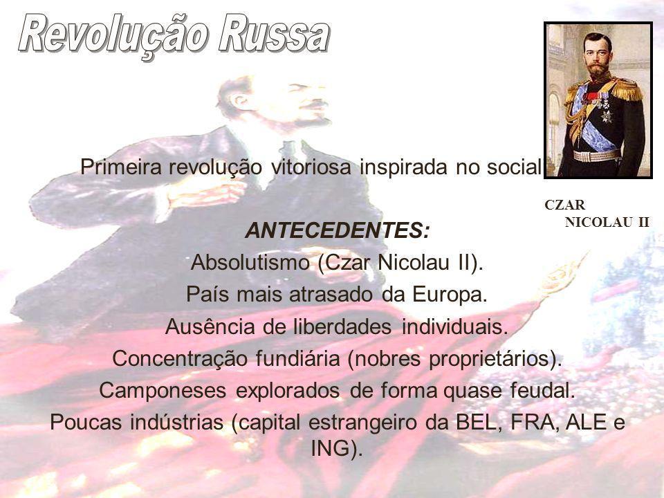 Revolução Russa Primeira revolução vitoriosa inspirada no socialismo.