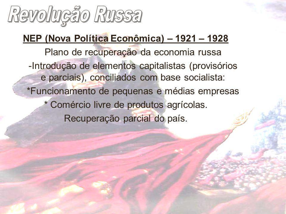 Revolução Russa NEP (Nova Política Econômica) – 1921 – 1928