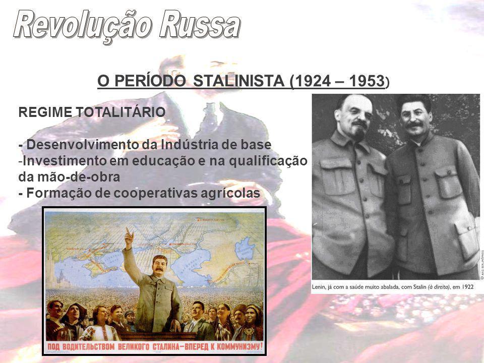 Revolução Russa O PERÍODO STALINISTA (1924 – 1953) REGIME TOTALITÁRIO
