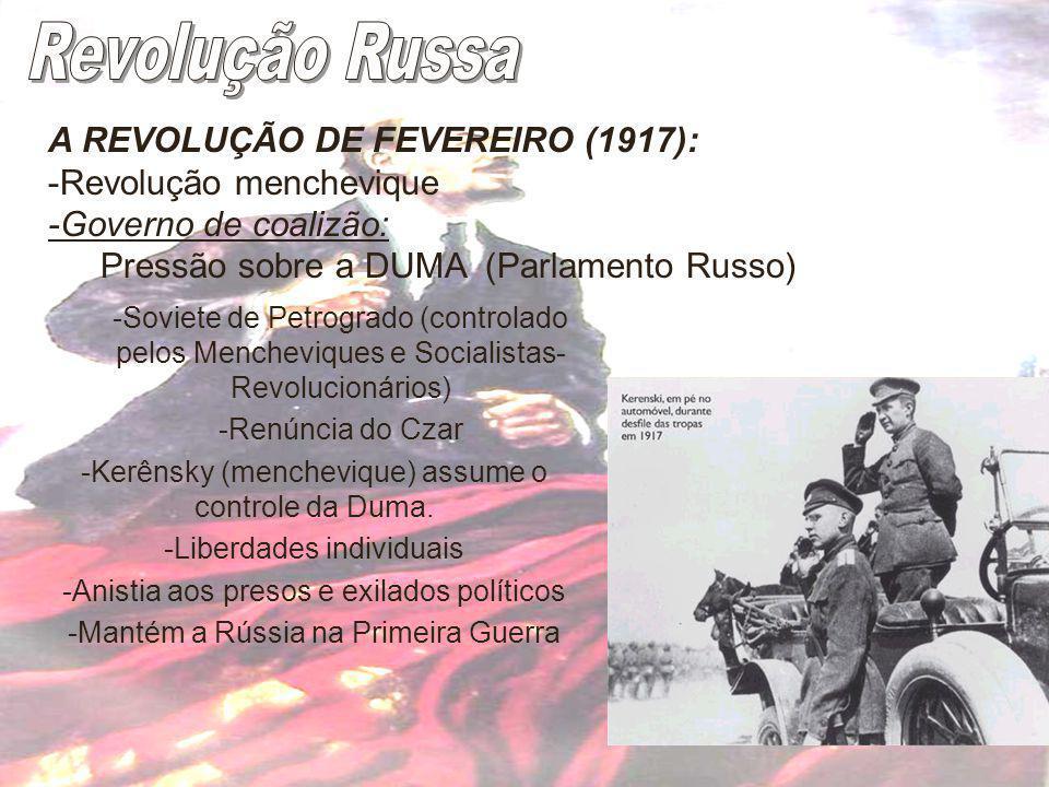 Revolução Russa A REVOLUÇÃO DE FEVEREIRO (1917):