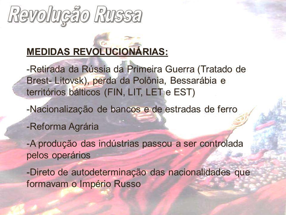 Revolução Russa MEDIDAS REVOLUCIONÁRIAS: