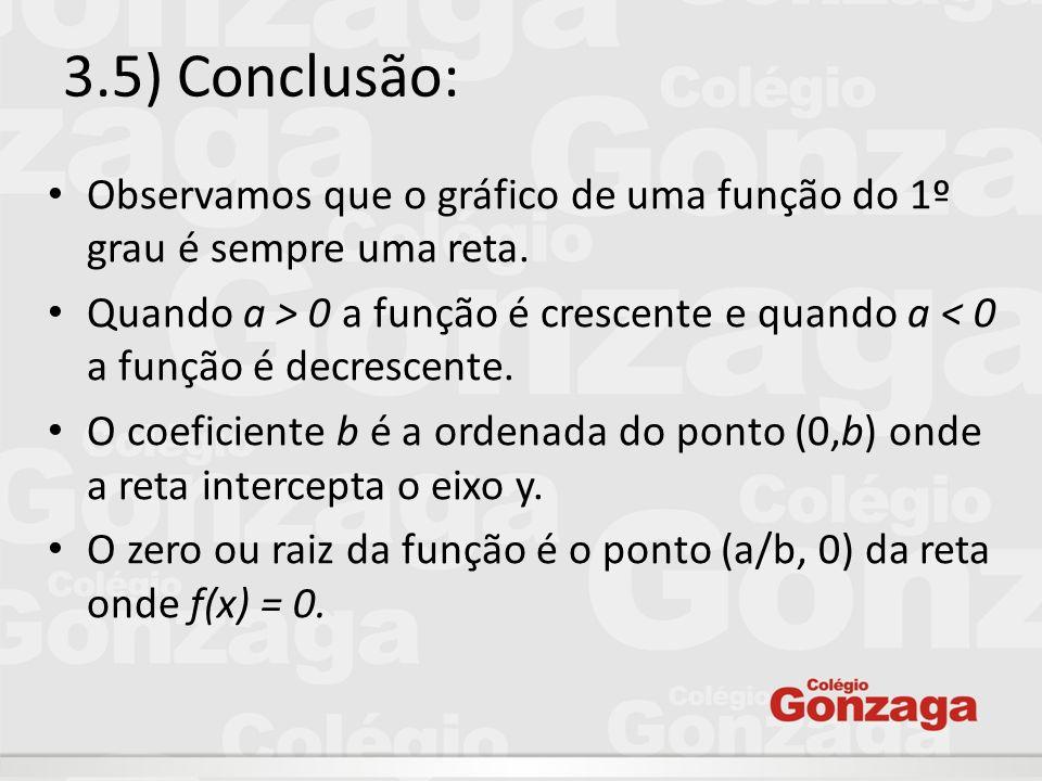 3.5) Conclusão: Observamos que o gráfico de uma função do 1º grau é sempre uma reta.