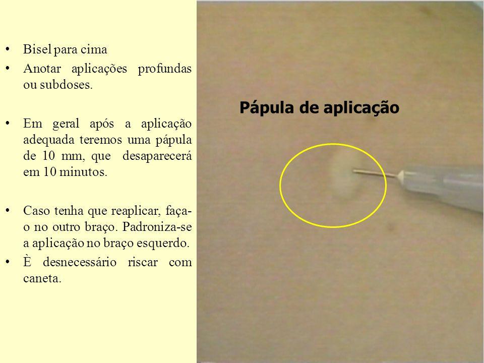 Pápula de aplicação Bisel para cima
