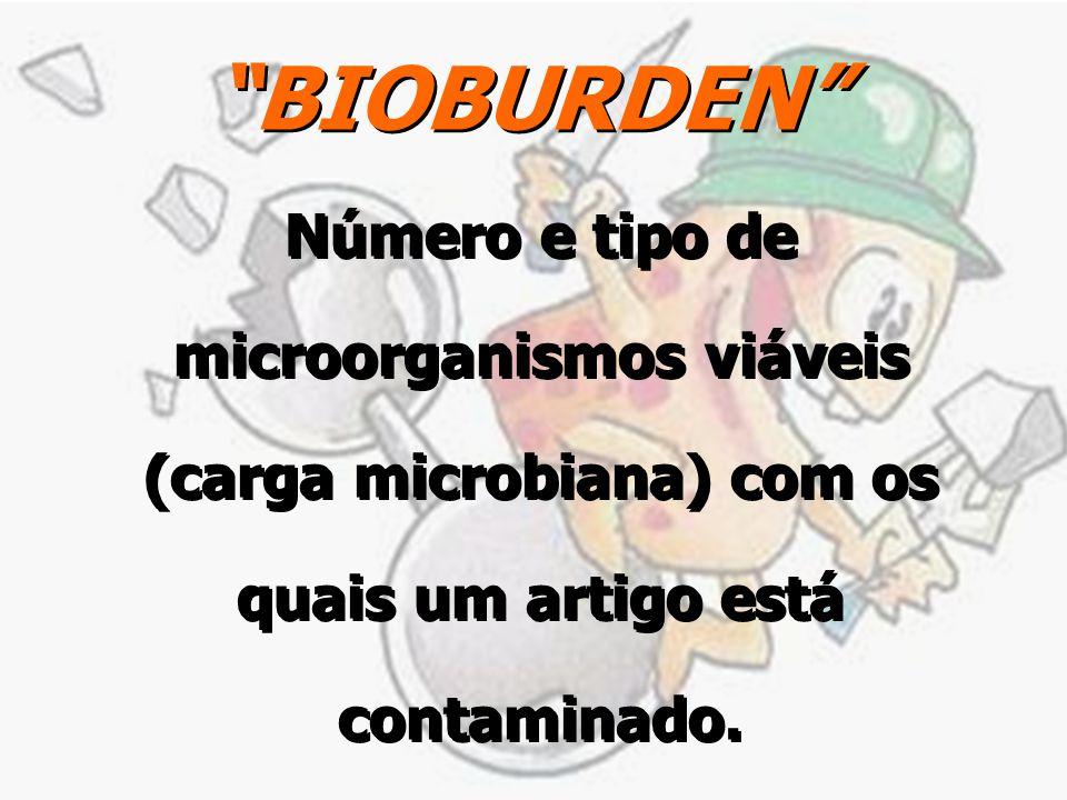 BIOBURDEN Número e tipo de microorganismos viáveis (carga microbiana) com os quais um artigo está contaminado.