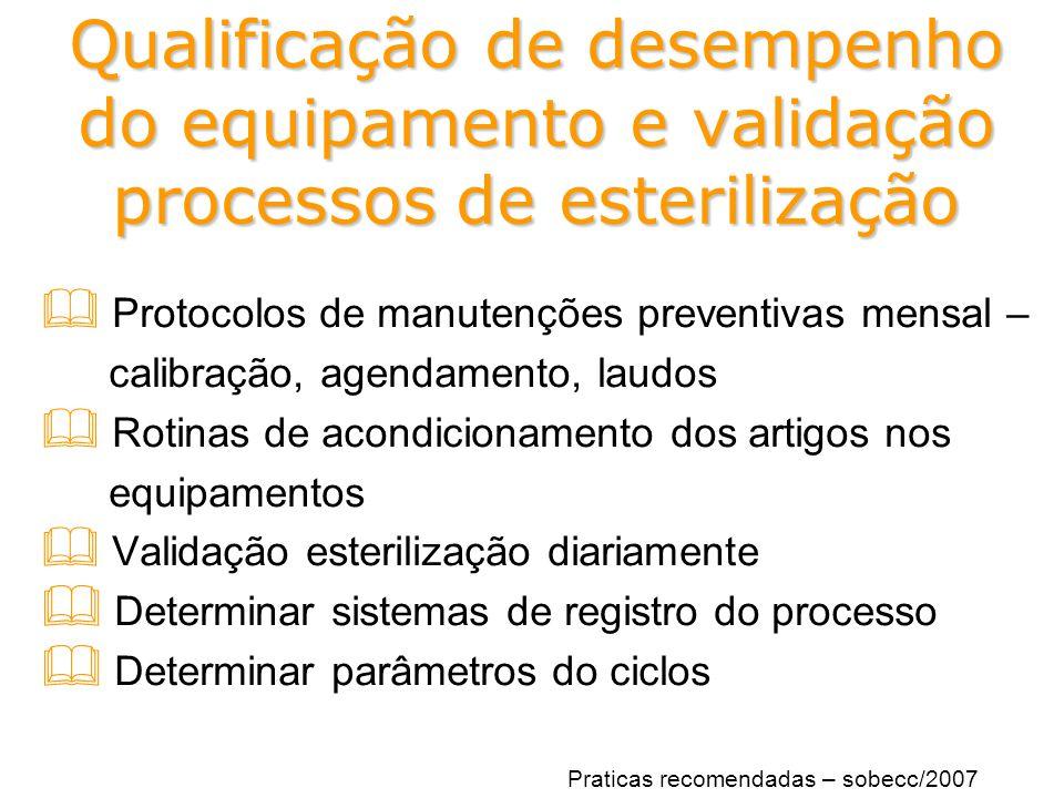 Qualificação de desempenho do equipamento e validação processos de esterilização
