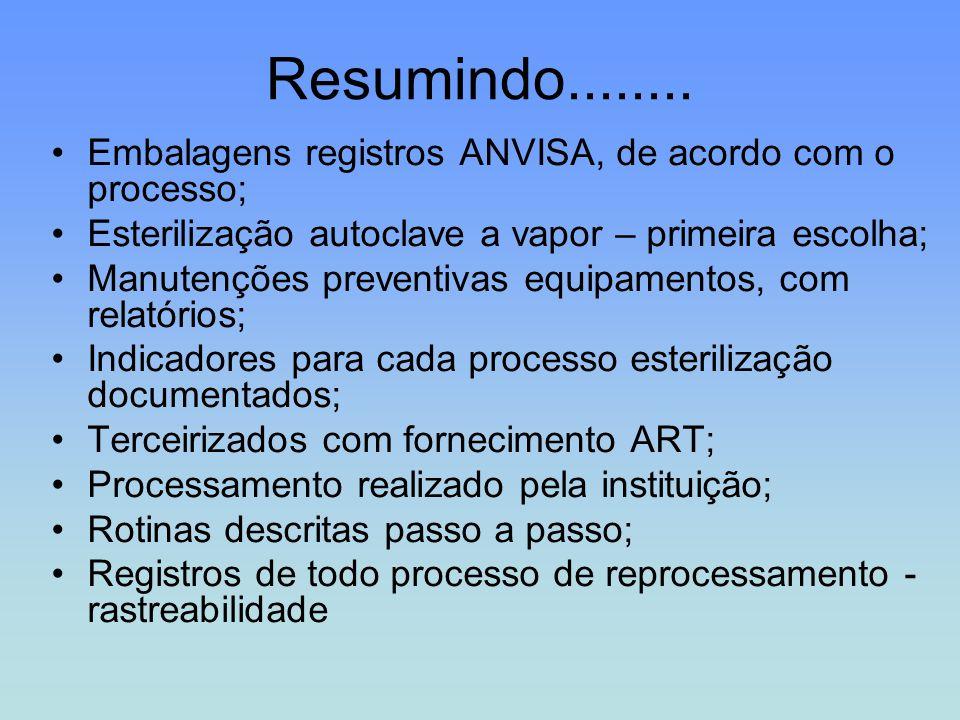 Resumindo........ Embalagens registros ANVISA, de acordo com o processo; Esterilização autoclave a vapor – primeira escolha;