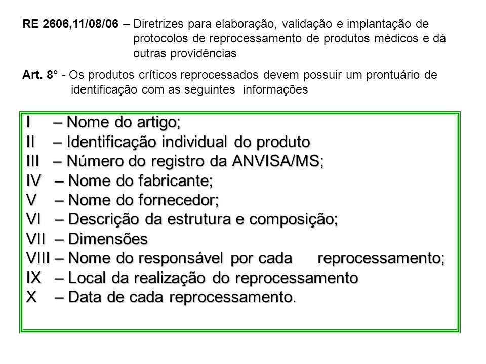 II – Identificação individual do produto