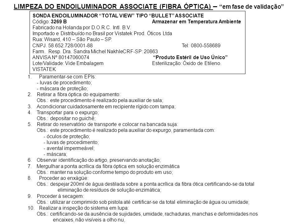 LIMPEZA DO ENDOILUMINADOR ASSOCIATE (FIBRA ÓPTICA) – em fase de validação