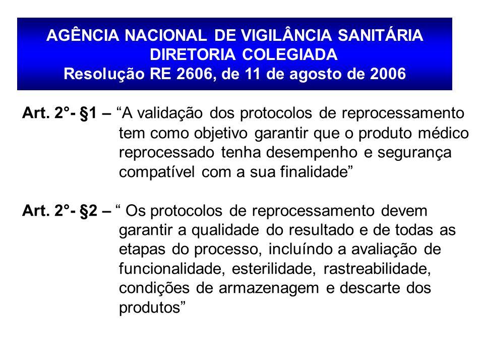 AGÊNCIA NACIONAL DE VIGILÂNCIA SANITÁRIA DIRETORIA COLEGIADA Resolução RE 2606, de 11 de agosto de 2006