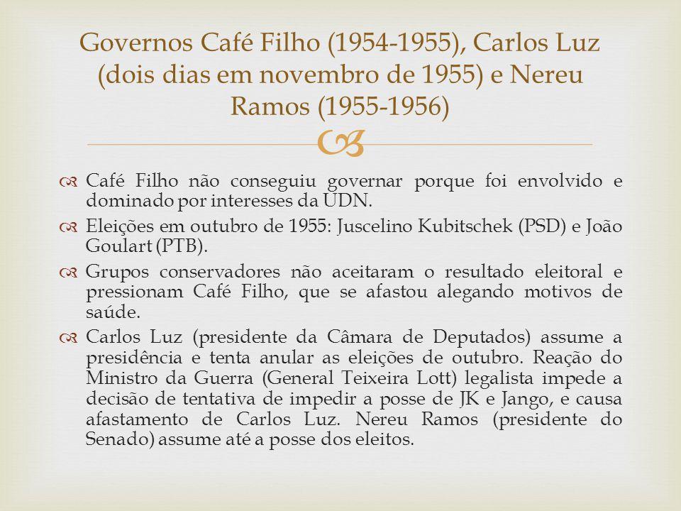 Governos Café Filho (1954-1955), Carlos Luz (dois dias em novembro de 1955) e Nereu Ramos (1955-1956)
