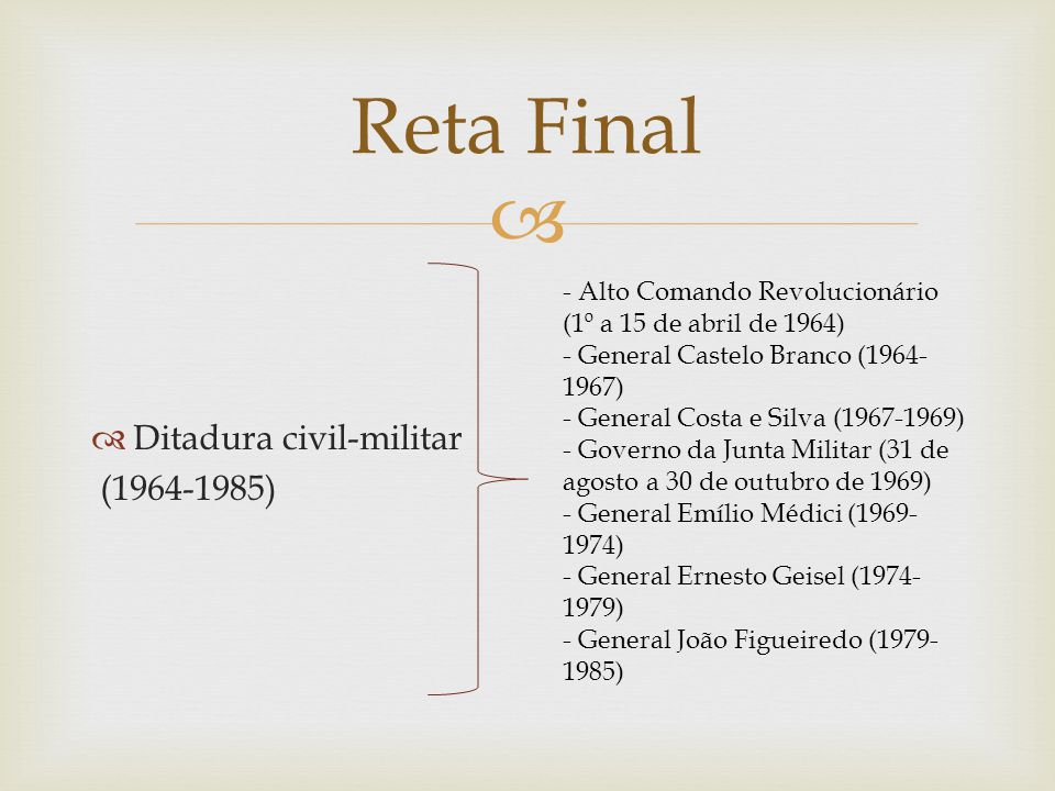 Reta Final Ditadura civil-militar (1964-1985)