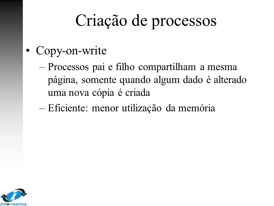 Criação de processos Copy-on-write