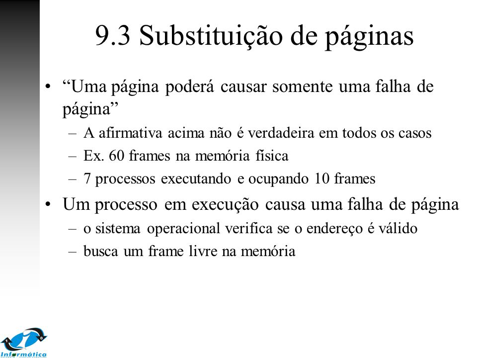 9.3 Substituição de páginas