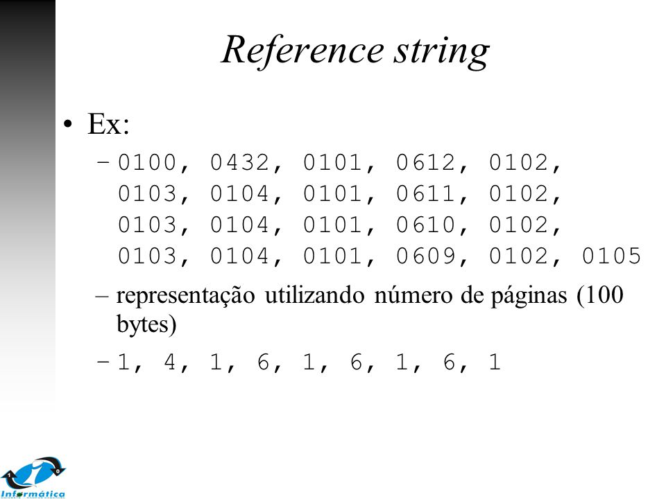 Reference string Ex: 0100, 0432, 0101, 0612, 0102, 0103, 0104, 0101, 0611, 0102, 0103, 0104, 0101, 0610, 0102, 0103, 0104, 0101, 0609, 0102, 0105.