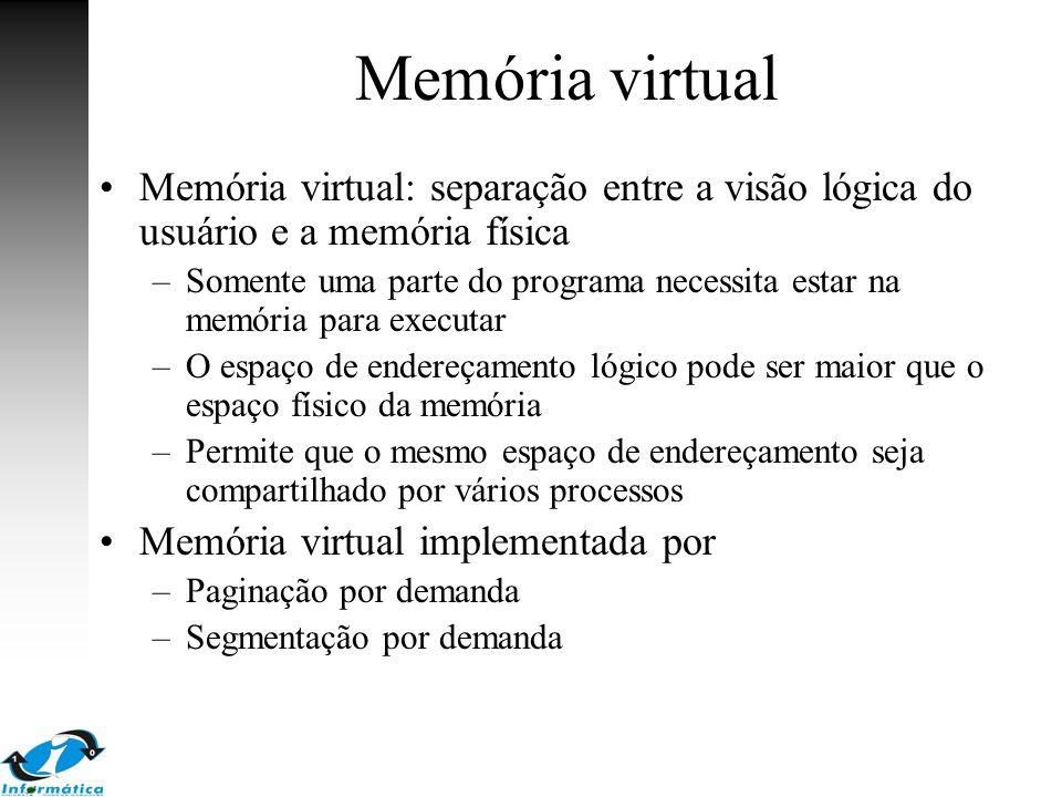 Memória virtual Memória virtual: separação entre a visão lógica do usuário e a memória física.