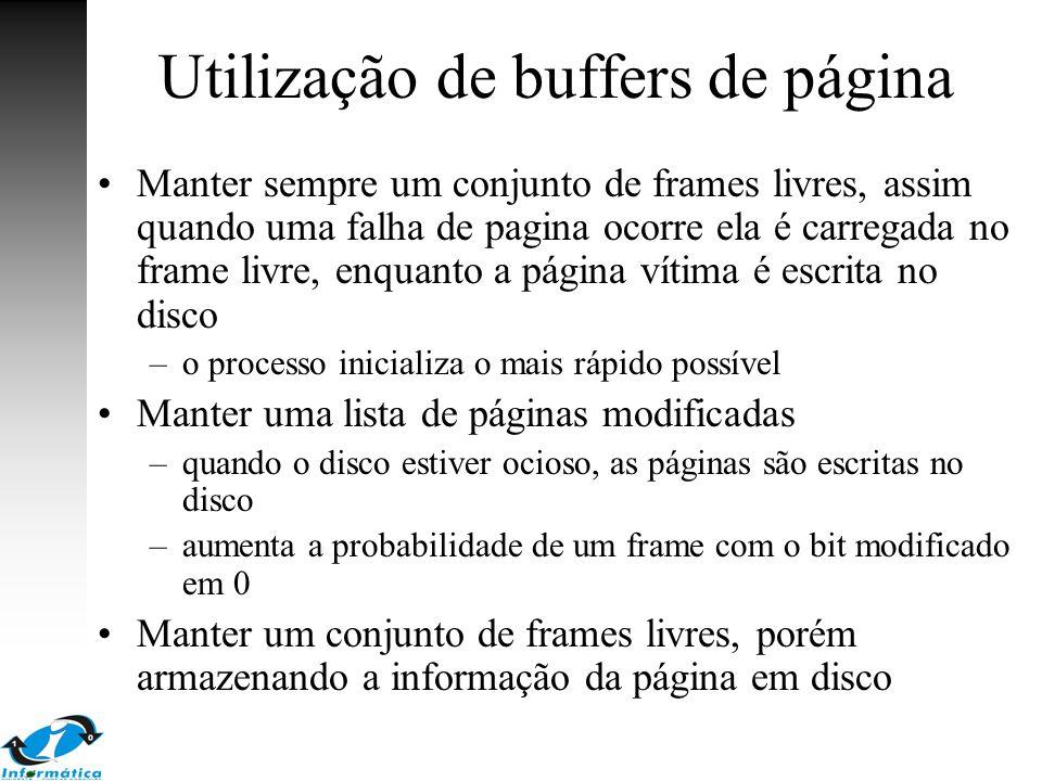Utilização de buffers de página