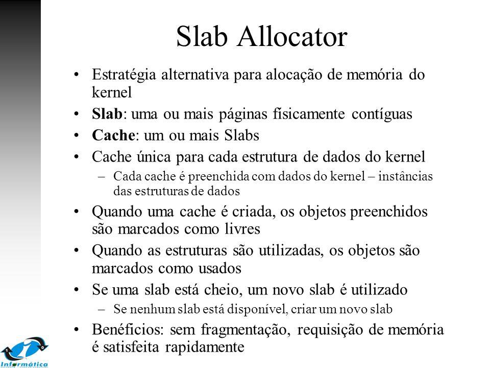 Slab Allocator Estratégia alternativa para alocação de memória do kernel. Slab: uma ou mais páginas físicamente contíguas.