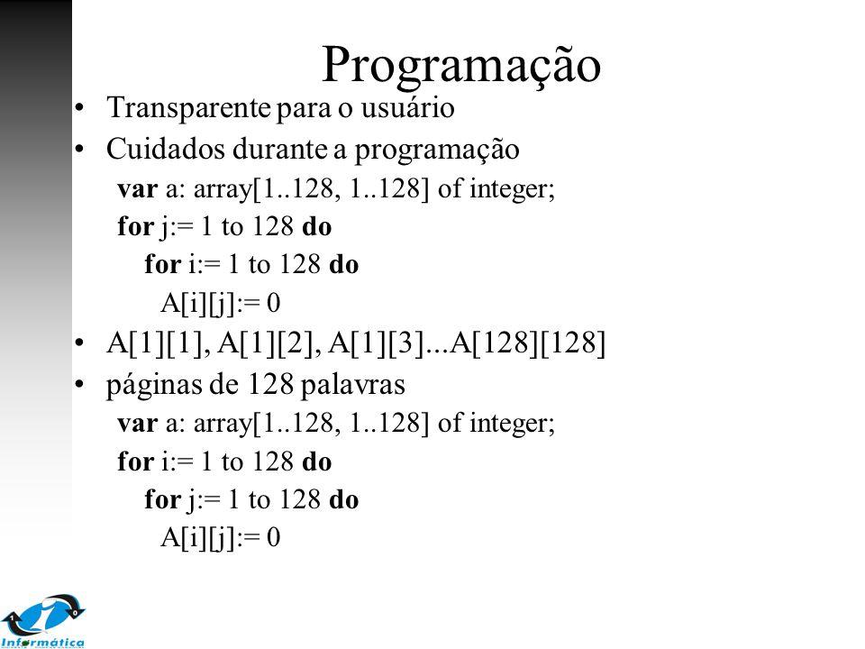 Programação Transparente para o usuário Cuidados durante a programação