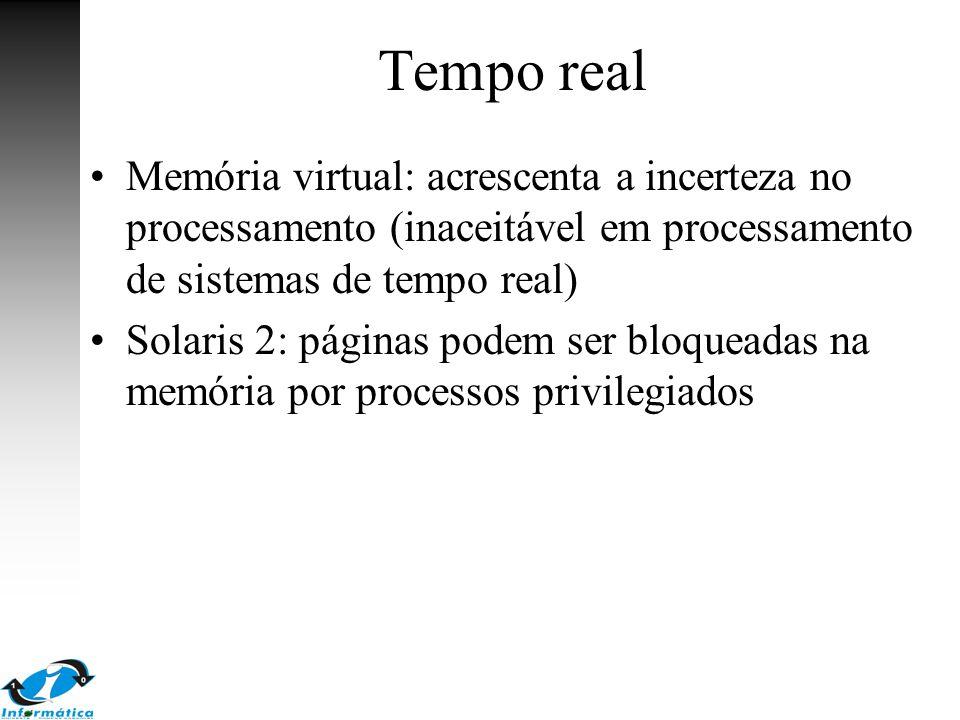 Tempo real Memória virtual: acrescenta a incerteza no processamento (inaceitável em processamento de sistemas de tempo real)