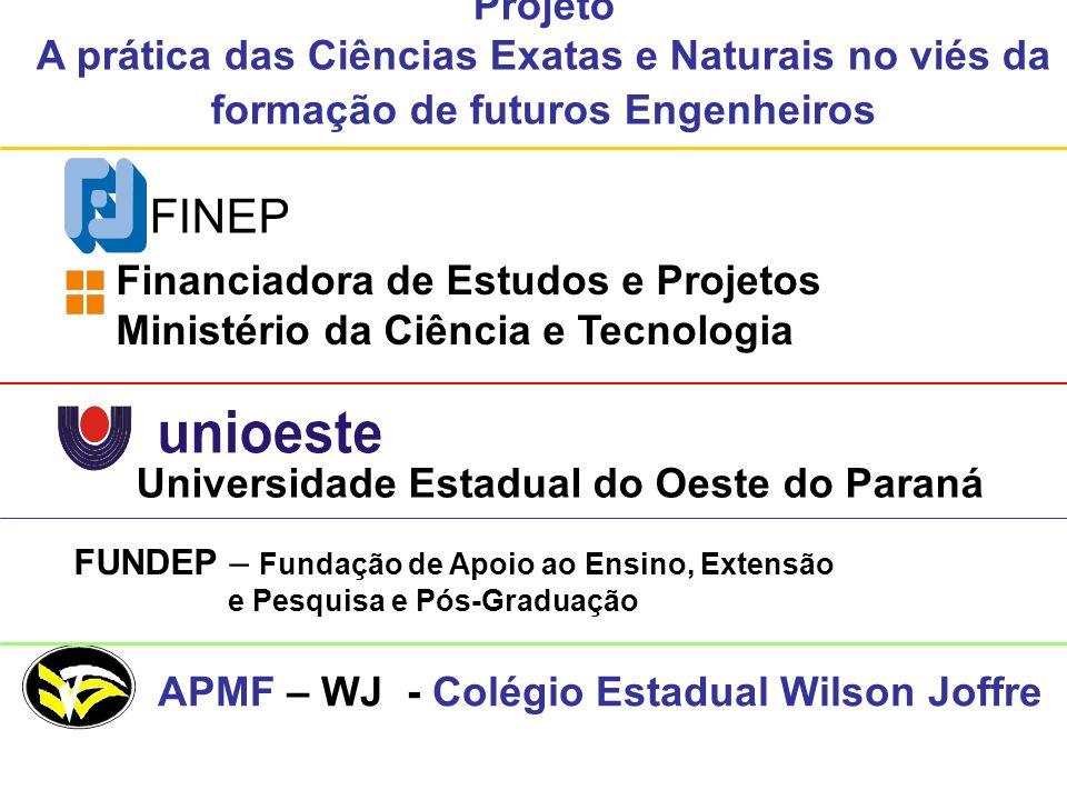Projeto A prática das Ciências Exatas e Naturais no viés da formação de futuros Engenheiros. FINEP.