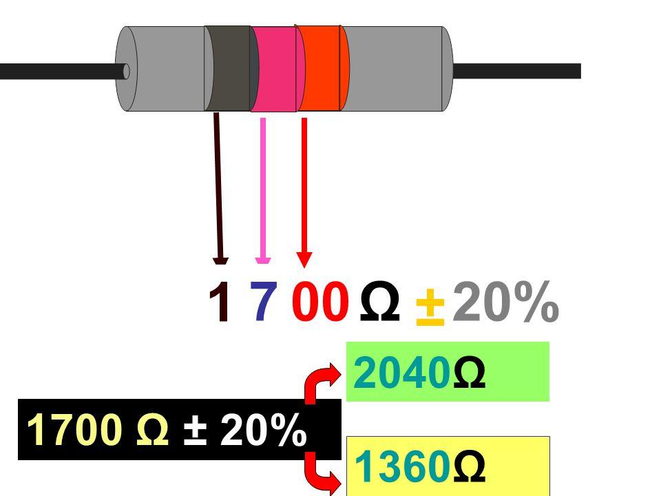 1 7 00 Ω 20% ± 2040Ω 1700 Ω ± 20% 1360Ω