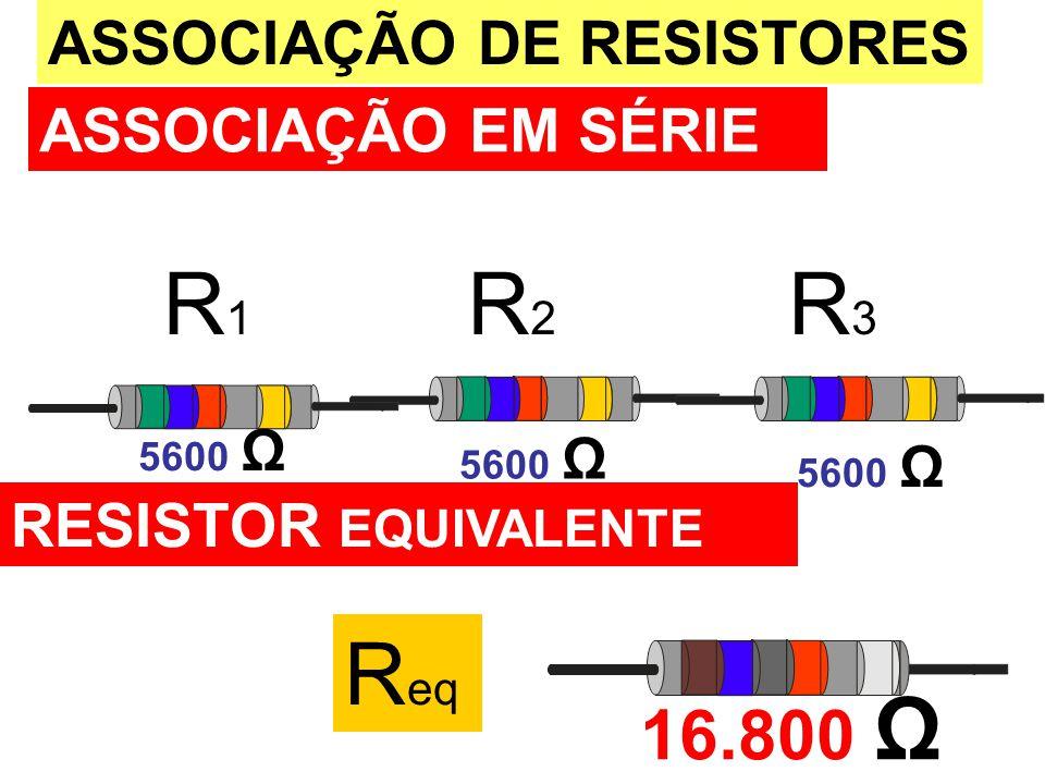R1 R2 R3 Req 16.800 Ω ASSOCIAÇÃO DE RESISTORES ASSOCIAÇÃO EM SÉRIE